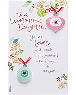 Amazon unused christmas card religious angel bilingual english american greetings loved christmas card for daughter with foil m4hsunfo