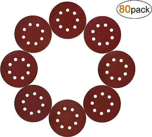 Disque de Pon/çage Disques Abrasifs 125mm Feuilles de Pon/çage Ponceuse Papier 40 60 80 100 120 150 180 240 320 400 Grain 8 Trous Ronds pour Poncer Polir 80 Pcs