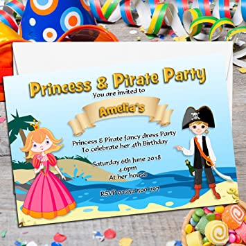 10 Personalised Princess And Pirate Party Invitations N71