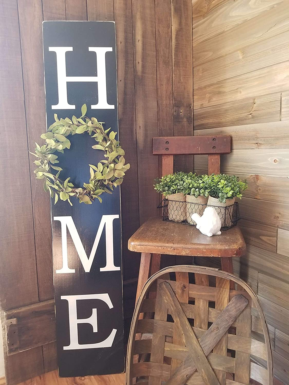 5db7844dfe07c Amazon.com: Home sign with wreath, vertical home wall decor, rustic ...