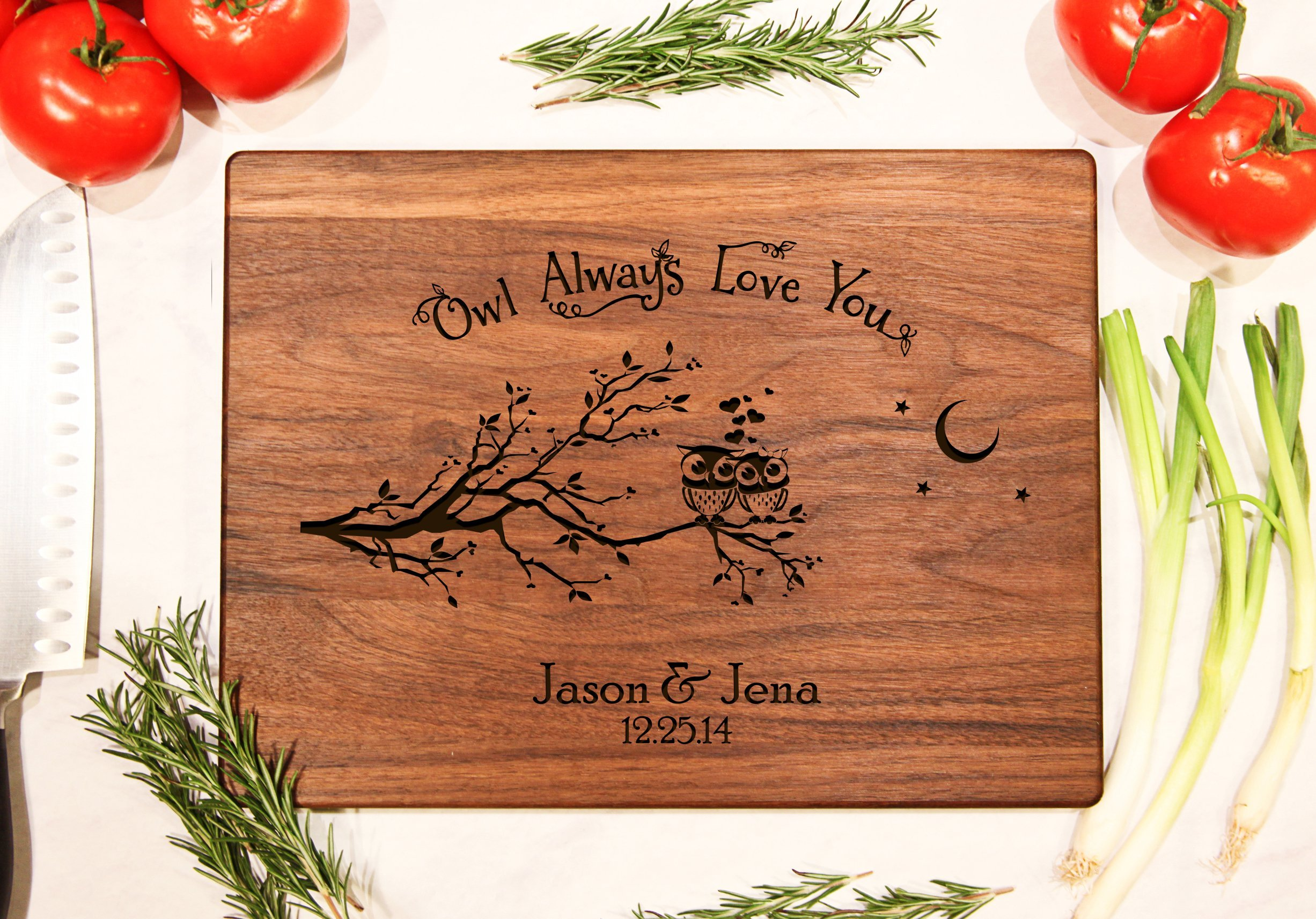 Personalized Cutting Board Engraved Chopping Block - OWL Always Love You