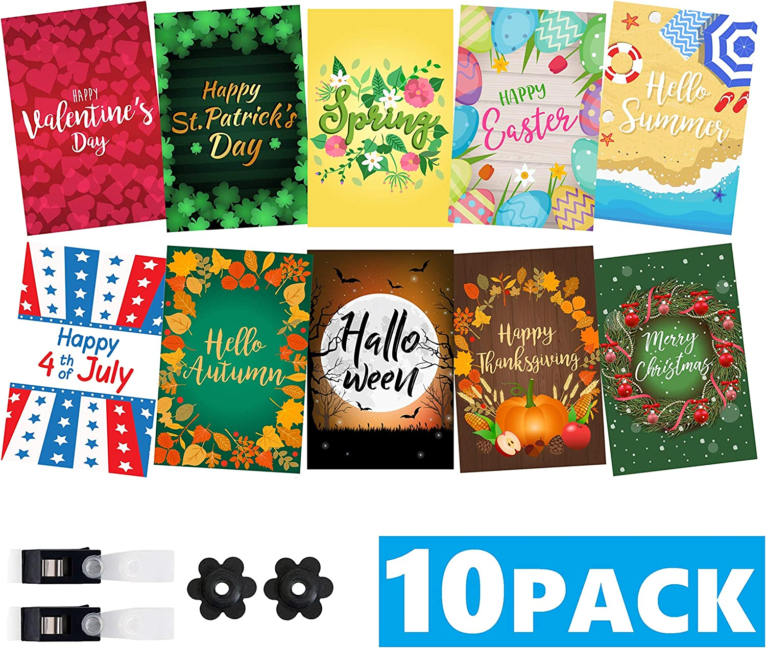 "Mogarden Seasonal Garden Flags Set - 10 Pack, Free 2 Stopper & 2 Wind Clip, Double Sided Yard Flags, 12"" x 18"" Size, Thick Weatherproof Polyester"