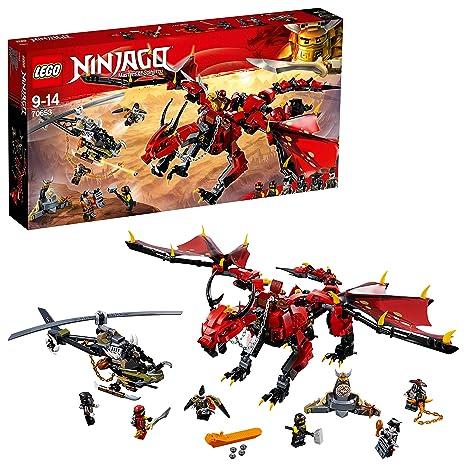 LEGO Ninjago - Llama del destino, set de construcción a partir de 9 años, incluye dragón rojo, un helicóptero y varios ninjas de juguete para recrear ...