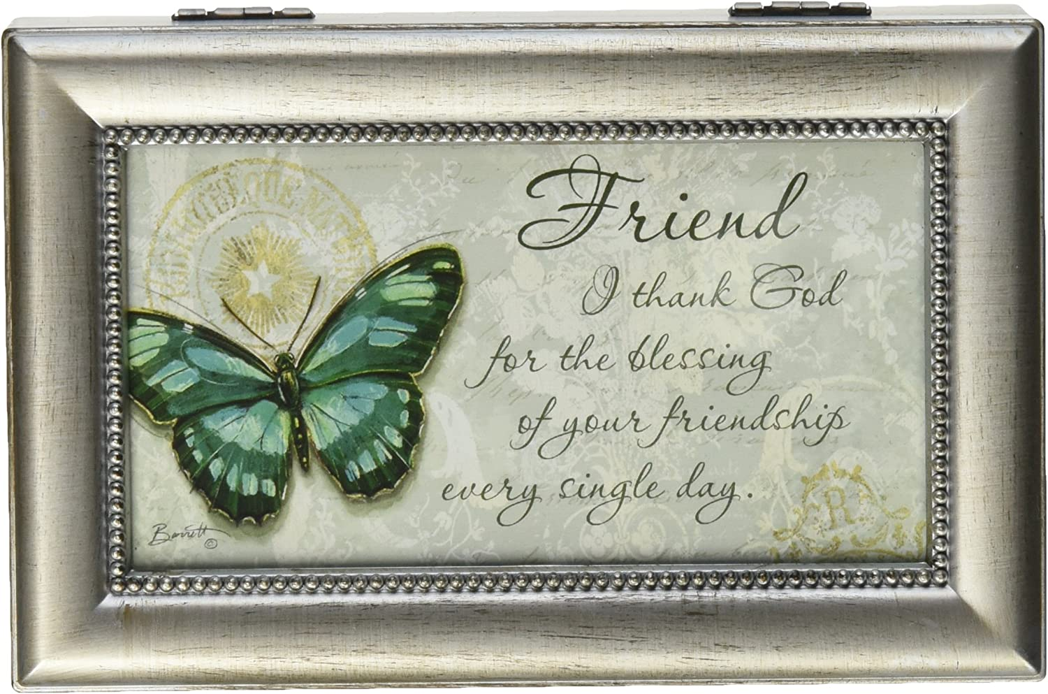 """New Carson Home Accents Blessings Friendship Music Box 6/"""" Amazing Grace"""