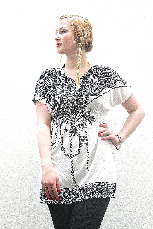 Top/ Tunika mit Muster 'Theresa - weiß-schwarz'