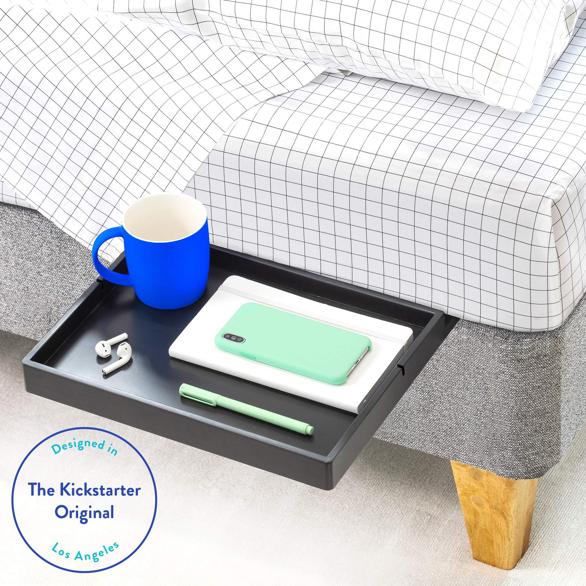 BedShelfie The Original Bedside Shelf - 9 Colors / 4 Sizes - AS SEEN ON Business Insider (Slide Style, Black) by BedShelfie