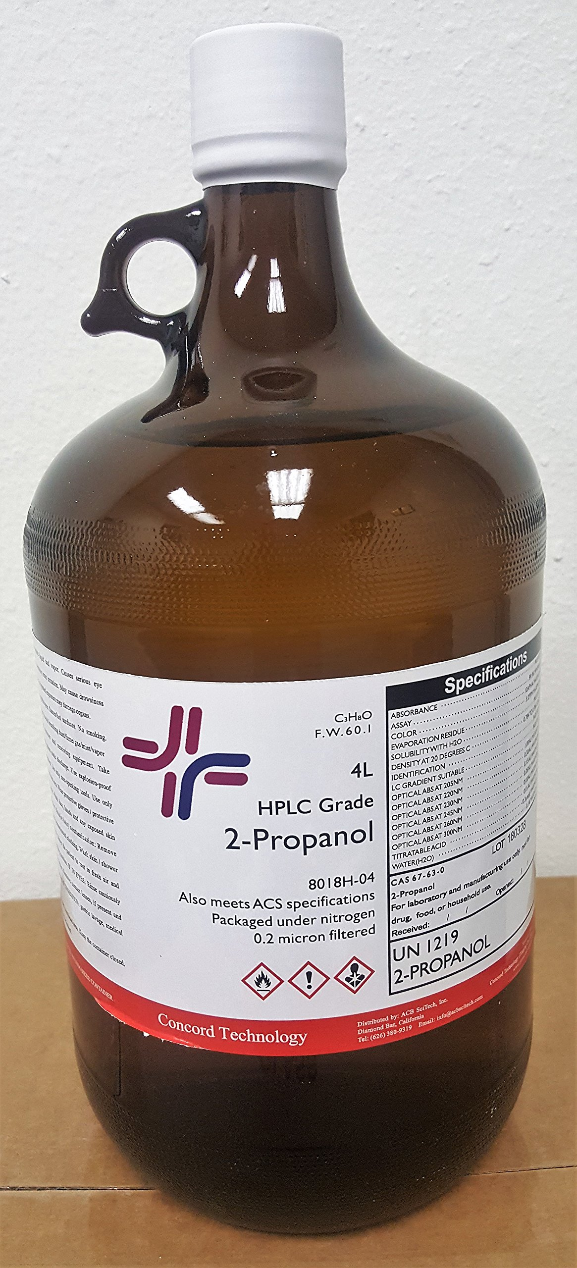 2-Propanol, HPLC, ACS, 99.9% Min, 4-Liter, Case of 4 by Concord Global Trading (Image #1)