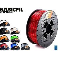 Basicfil PET  1.75mm, 1 kg filament pour imprimate 3D, Rouge transparent
