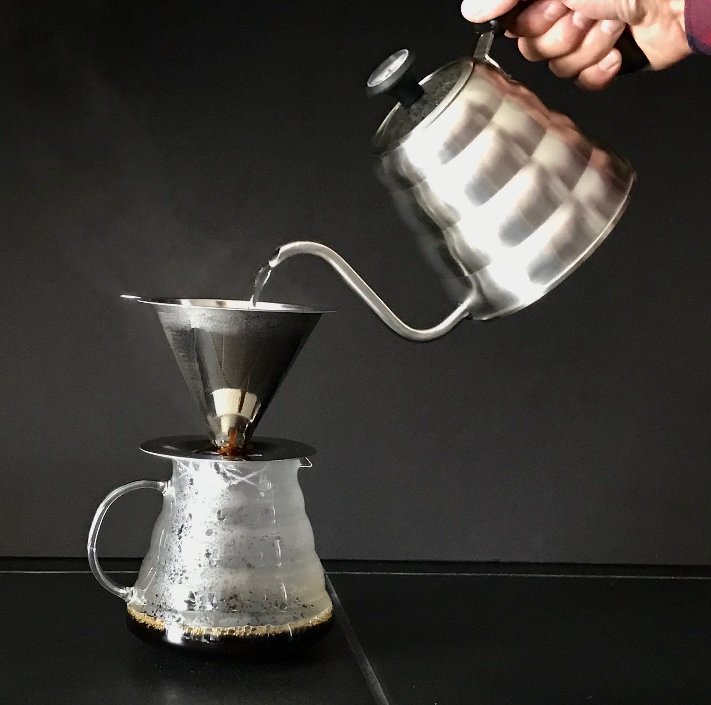 Stainless Steel Pour Over Coffee Dripper by Ol' Blue - Slow Drip Coffee Filter Cone - Reusable Single Serve Coffee Maker