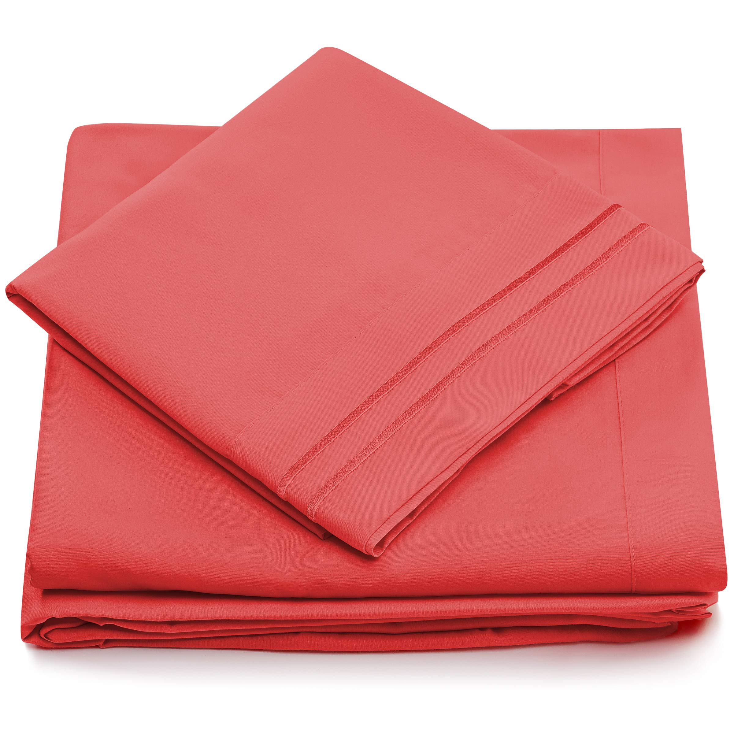 Cosy House Collection Twin Size Bed Sheets - Brink Pink Bedding Set - Deep Pocket - Extra Soft Luxury Hotel Sheets - Hypoallergenic - Cool & Breathable - Wrinkle, Stain, Fade Resistant - 3 Piece
