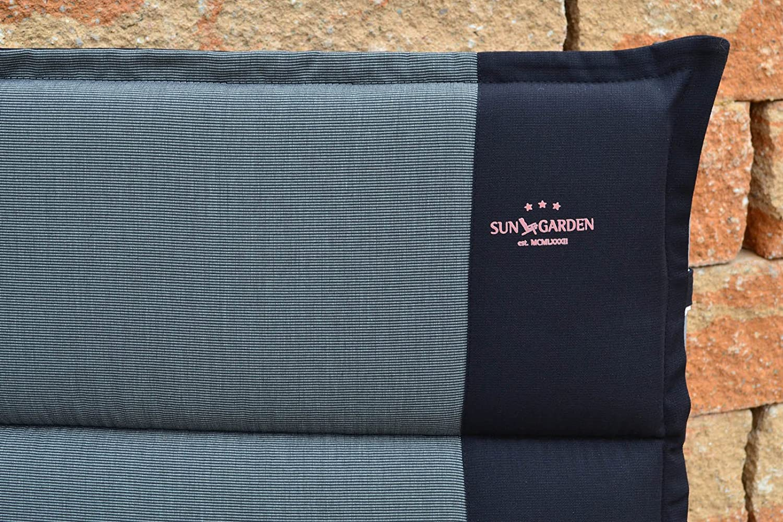 2 Wendeauflagen fuer Hochlehner 116 x 50 x 4 cm Capri 90286-51 in grau schwarz ohne Stuhl