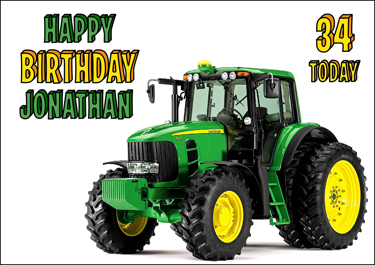 John Deere Tractor Birthday Card Customized with Your Name and Age ...