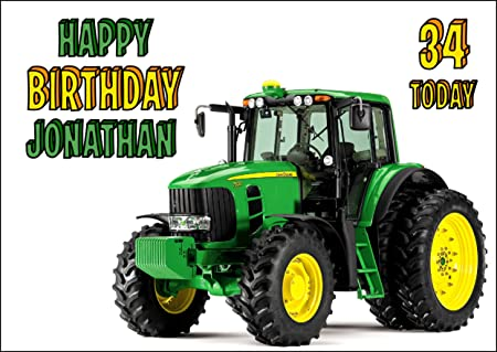 John Deere Tractor Birthday Card Customized With Your Name And Age