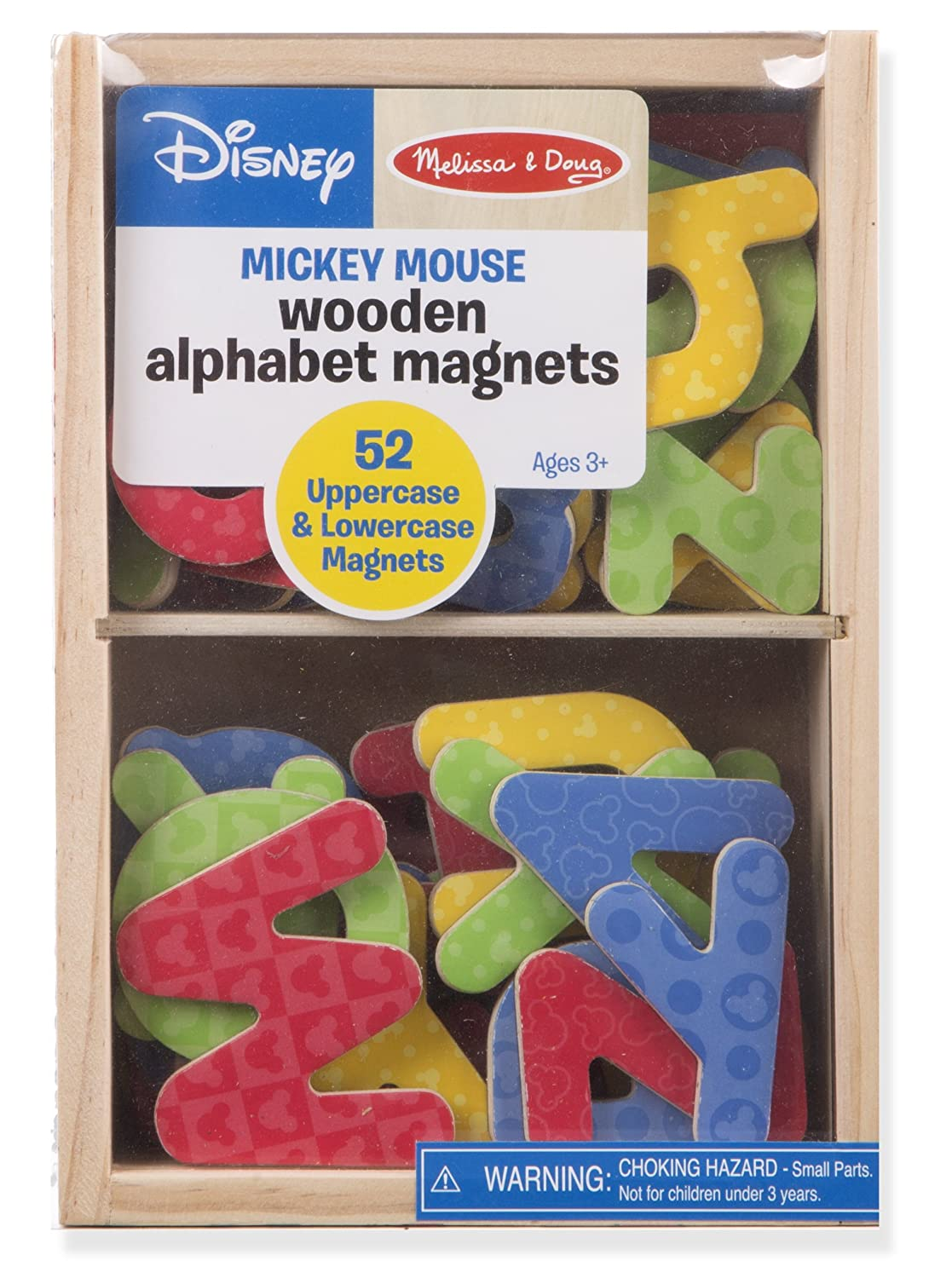 "Melissa & Doug Wooden Letter Alphabet Magnets, Developmental Toys, Sturdy Wooden Construction, 52 Pieces, 7.8"" H x 5.45"" W x 1.85"" L"