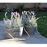 Purple Silk Floral Arrangements Faux Lavender Flower Plant Home Office Décor 2 Pc Set - with Grey Vases