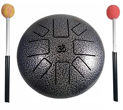 India Meets India Aum Cum Steel Tongue Happy Drum Pan with Rubber Musical  Mallet and Travel Bag for Meditation Yoga Zen Sound Healing, 9-inch