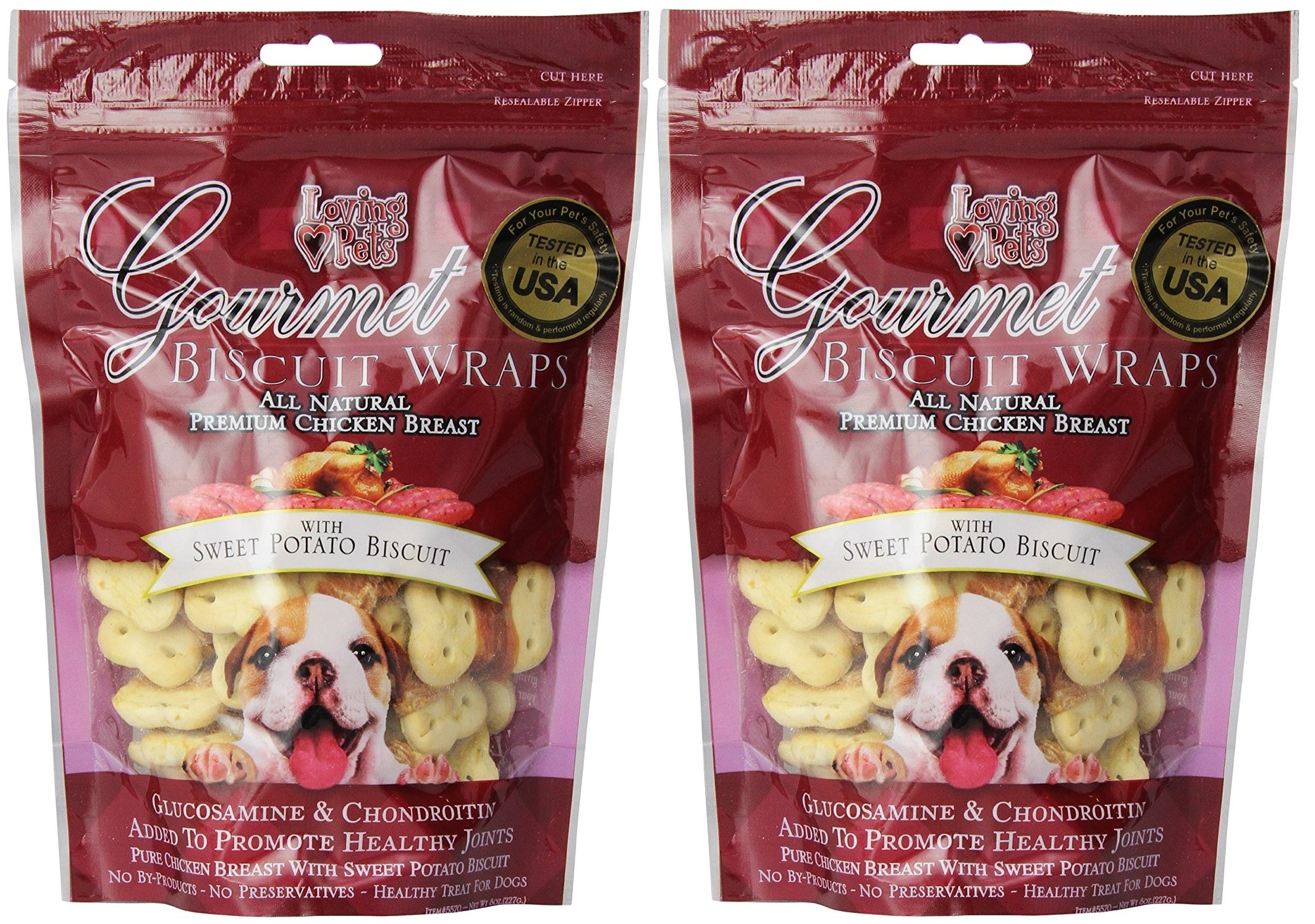 (2 Pack) Loving Pets All Natural Premium Sweet Potato Biscuit and Chicken Wraps with Glucosamine and Chondroitin Dog Treats, 8 oz by Loving Pets (Image #1)
