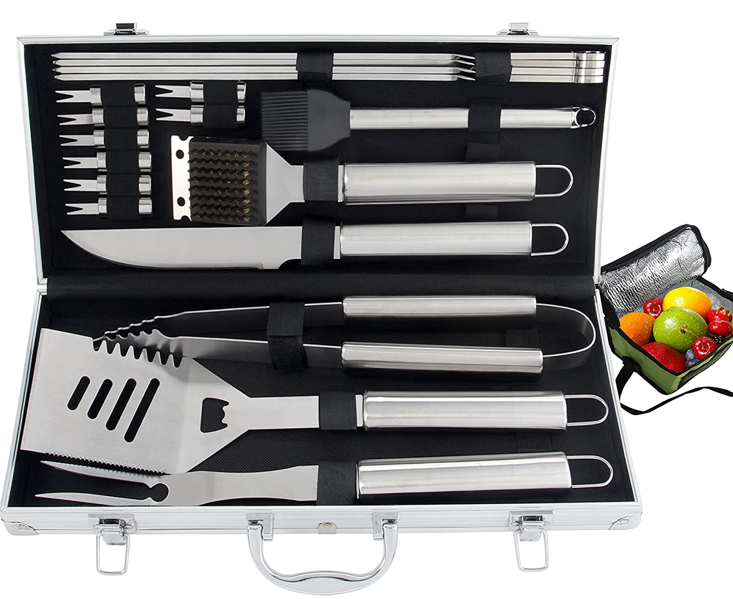 ROMANTICIST 20pc Heavy Duty BBQ Grill Tool Set with Cooler Bag for Men Dad in Gift Box - Outdoor Camping Tailgating Barbecue Gril Accessories in Aluminum Case B20-A01-1