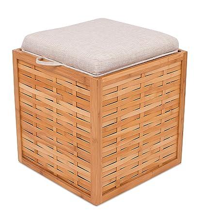 Amazoncom Birdrock Home Bamboo Storage Ottoman Storage Box