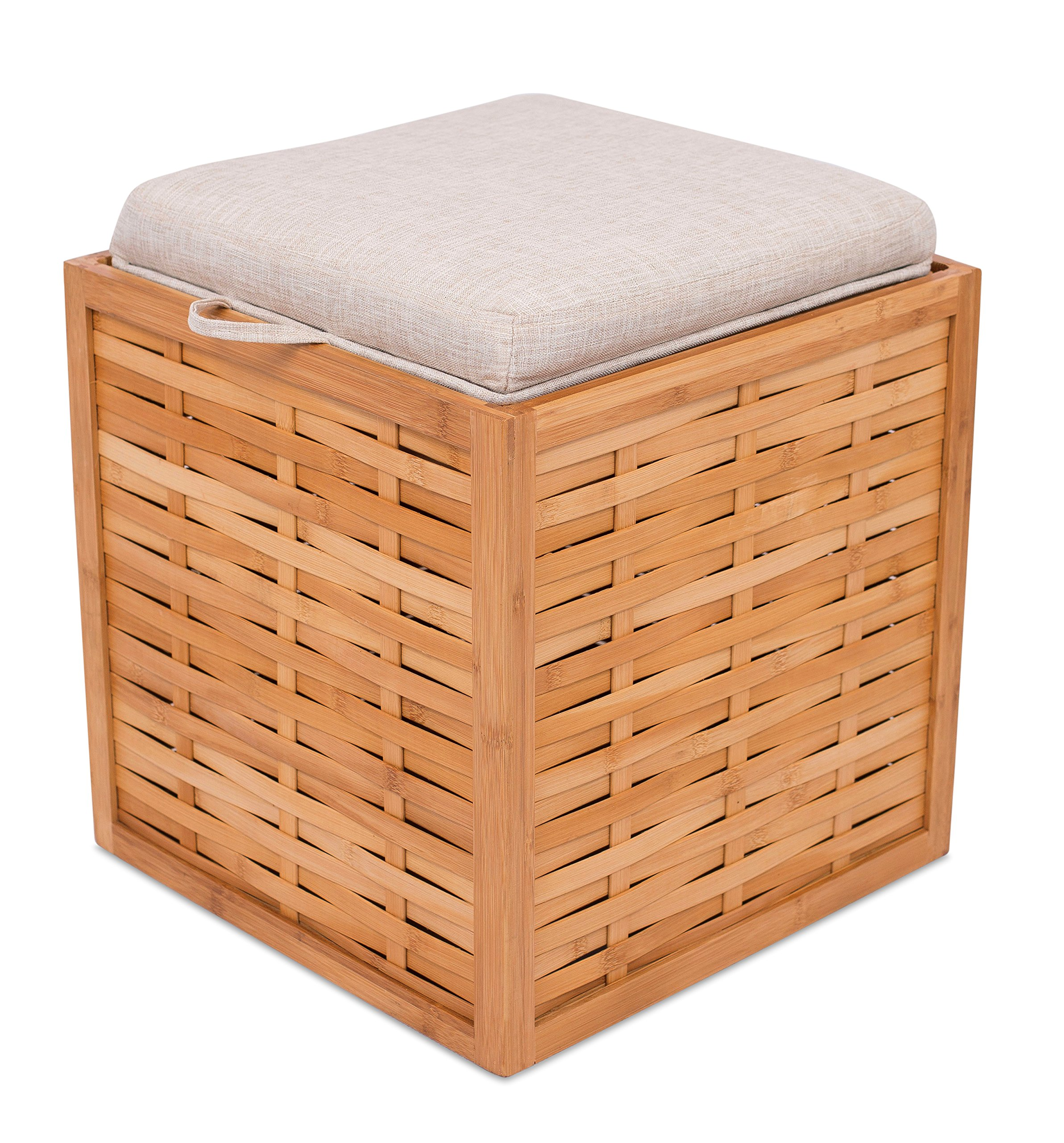 BirdRock Home Bamboo Storage Ottoman | Storage Box | Reversible Linen Cushioned Top and Serving Tray | Natural Spa Ottoman