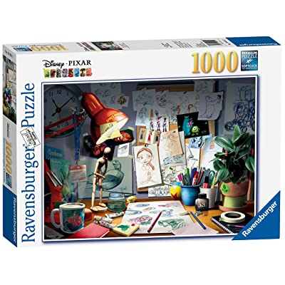 Ravensburger Disney Pixar - The Artist's Desk Puzzle 1000 Piece Jigsaw Puzzle for Adults – Every piece is unique, Softclick technology Means Pieces Fit Together Perfectly: Toys & Games