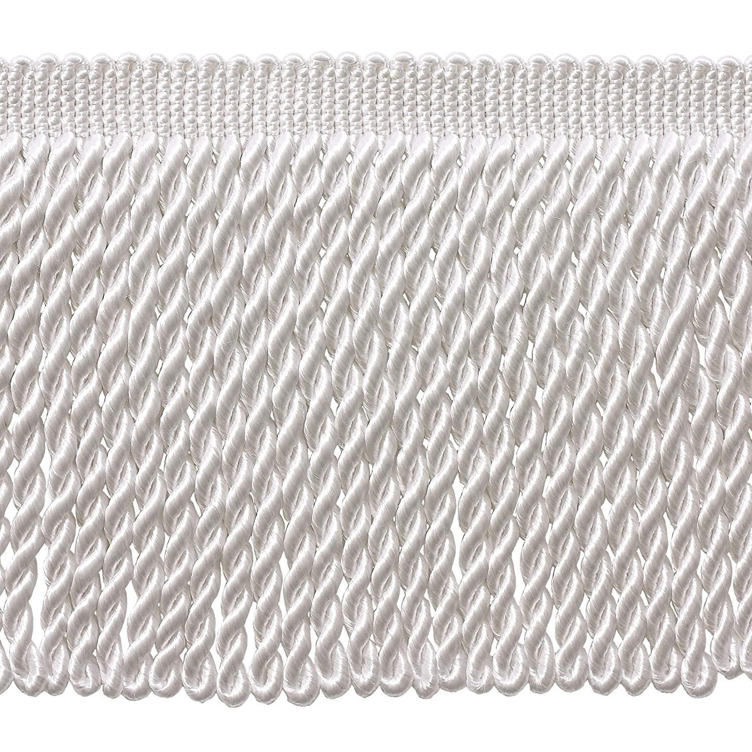 A1 Sold By the Yard 6 Inch Long WHITE Bullion Fringe Trim Style BFS6 Color Basic Trim Collection