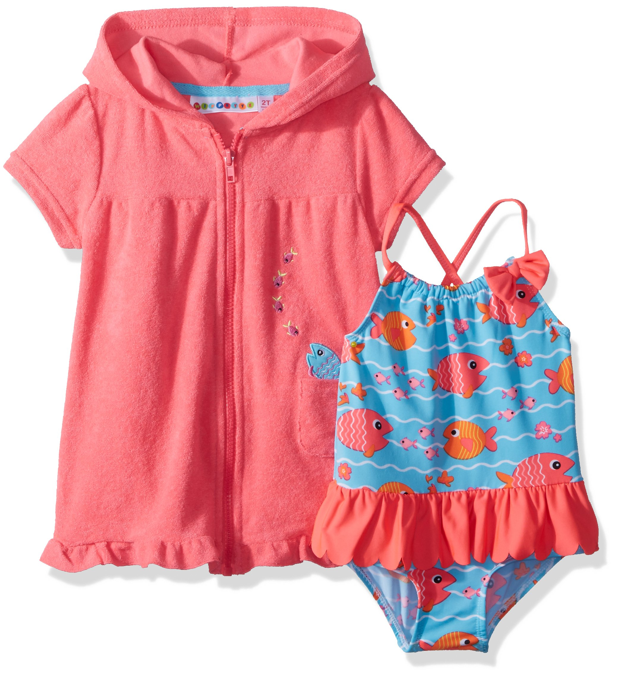 Wippette Toddler Girls' Coverup Set With Fish and Waves, Diva Pink, 3T