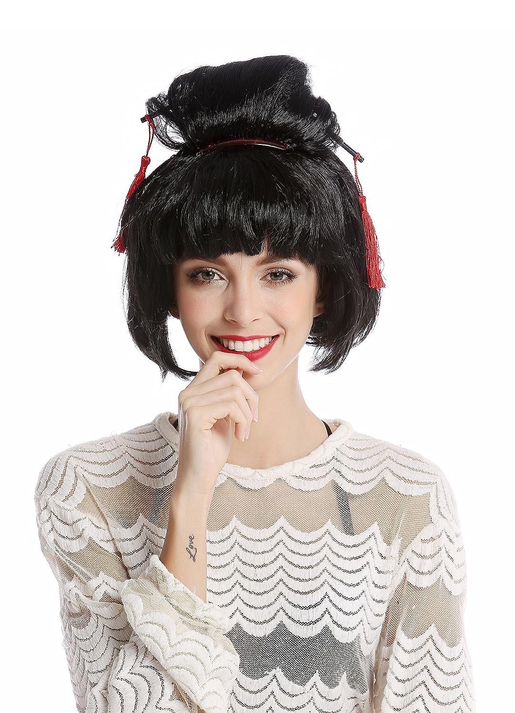 WIG ME UP ® - 90747-ZA103 Peluca Mujer Halloween Carnaval Japón Geisha Maiko asiática moño updo Negro: Amazon.es: Juguetes y juegos