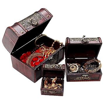 Joyero de Madera - Set de 3 Cajas de Madera Vintage, Cofre del Tesoro, Organizador de Cosméticos, Maquillaje, Abalorios, Estuche de Madera Diseño ...