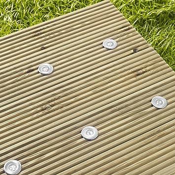 lot de 6 lampes spots led blanches en inox pour terrasse avec panneau solaire par lights4fun - Spot De Terrasse