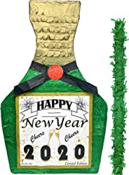 "New Year's Eve Champagne Pinata with stick – 17"" X 10.5"" X 4.5"" Perfect for New Years decorations, NYE centerpiece, Year 2020"
