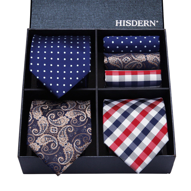 HISDERN Lot 3 PCS Classic Herren Seidenkrawatte Set Krawatte & Einstecktuch - Mehrere Sets TA3001