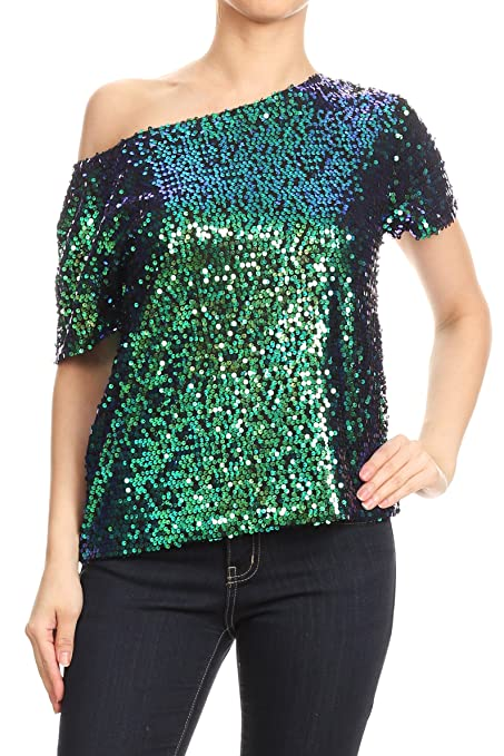 60s Shirts, T-shirt, Blouses | 70s Shirts, Tops, Vests Anna-Kaci Womens Short Sleeve One Shoulder Sexy Sequin Top Blouse $30.99 AT vintagedancer.com