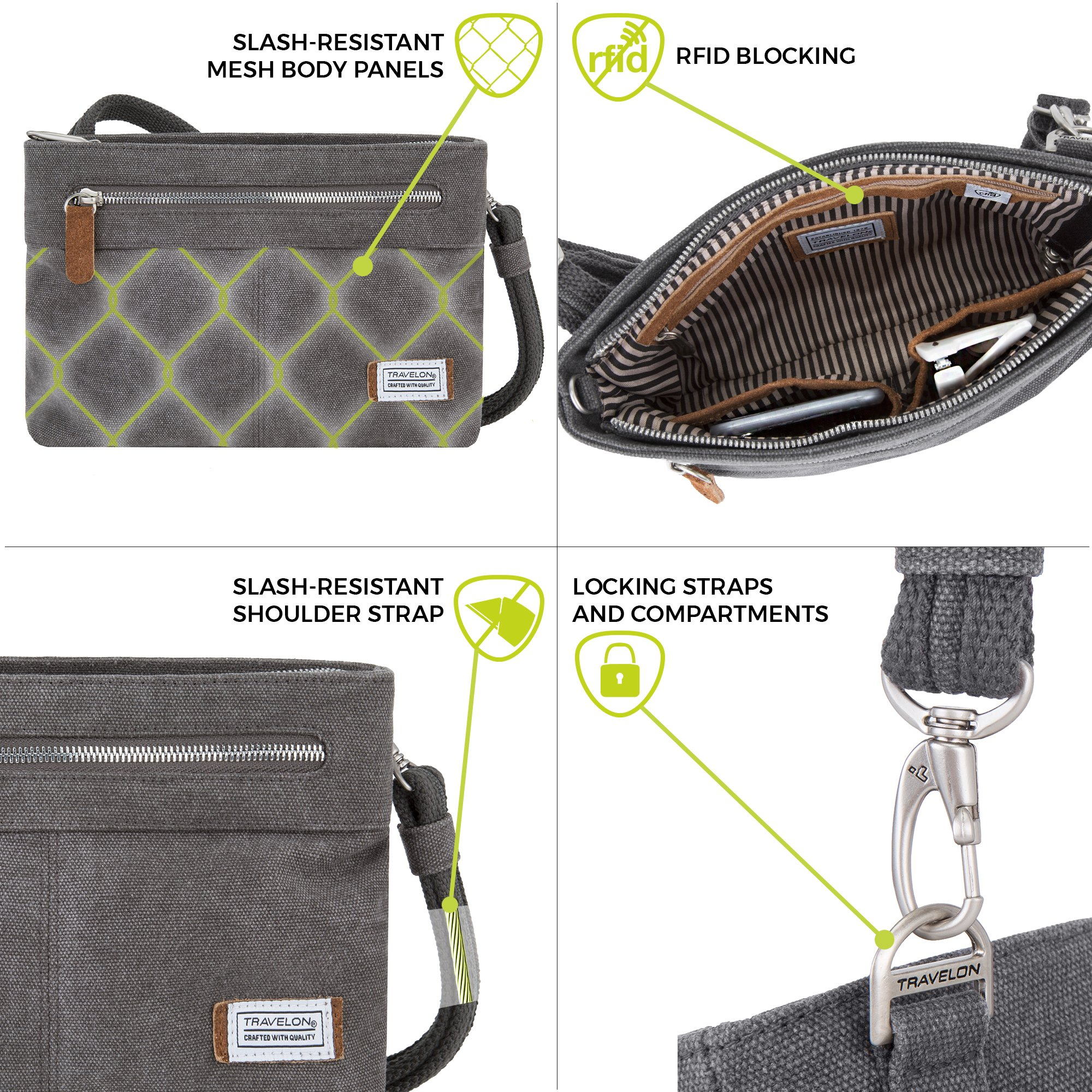 Travelon Anti-Theft Heritage Cross Body Bag, Sage, One Size by Travelon (Image #5)