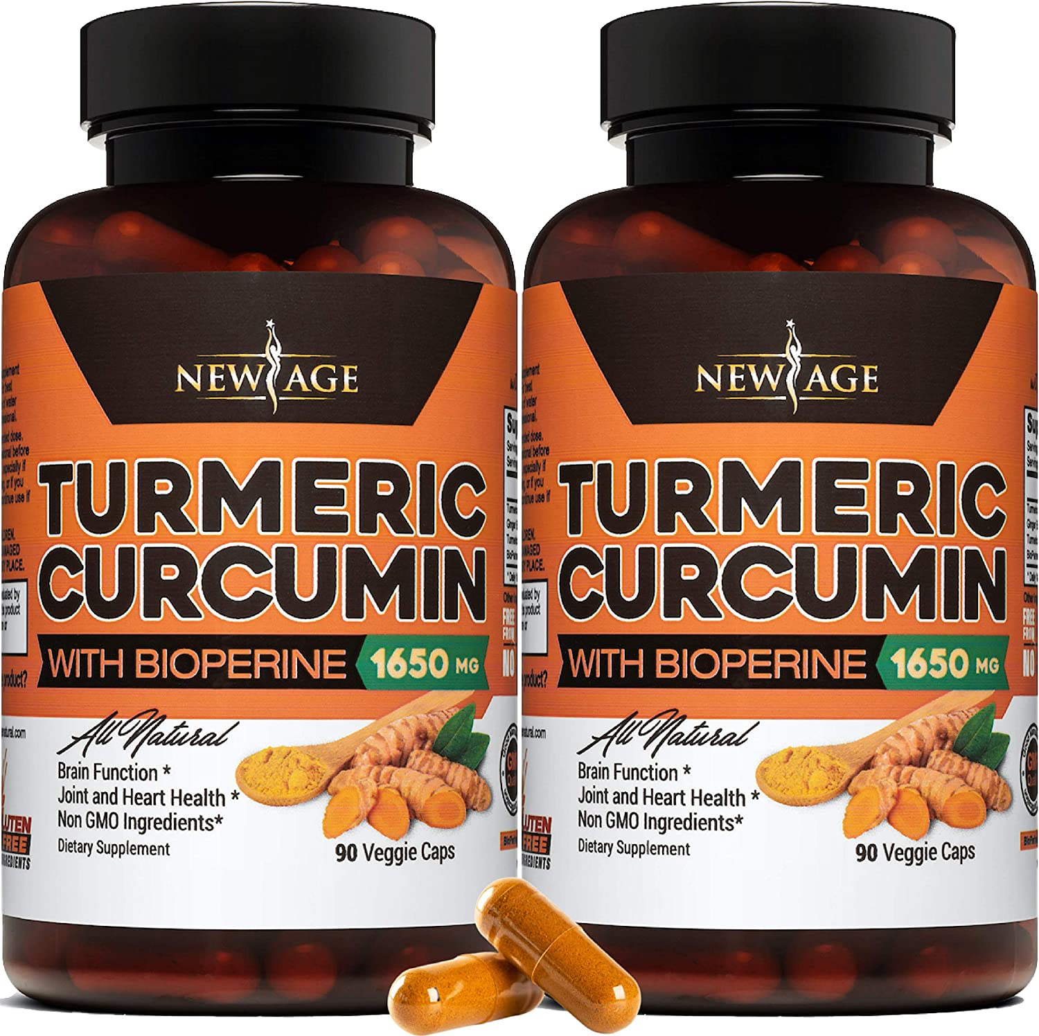 Turmeric Curcumin with Bioperine 1650mg by New Age - 2 Pack - Premium Joint & Healthy Inflammatory Support with 95% Standardized Curcuminoids. Non-GMO, Gluten Free Capsules with Black Pepper: Health & Personal Care