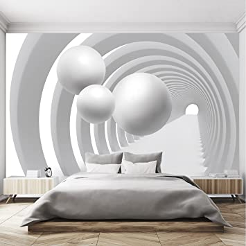 Papier Peint 3D 366cm x 254cm Noir Blanc Tunnel Tridimensionnel ...
