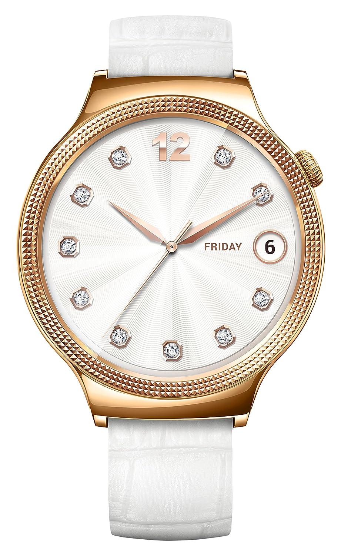 Huawei 55021135 Elegant Smartwatch mit Lederarmband - Edelstahl rosegold-weiß