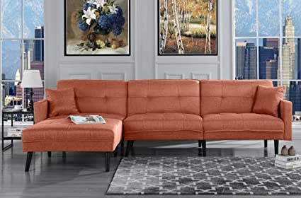 Mid Century Modern Style Linen Sofa Sleeper Futon Living Room L Shape Sectional Couch