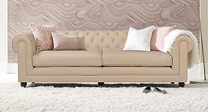 Terrific Elle Decor Amery Tufted Sofa Bonded Leather French Ivory Home Interior And Landscaping Analalmasignezvosmurscom