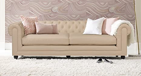 Elle Decor Amery Tufted Sofa, Bonded Leather, French Ivory