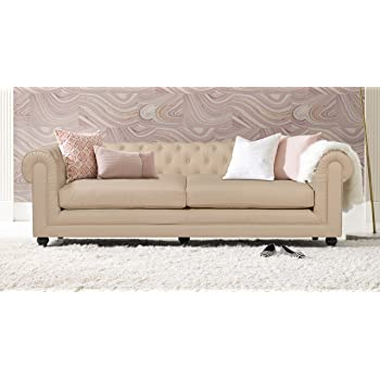 Amazon Com Classic Scroll Arm Tufted Bonded Leather