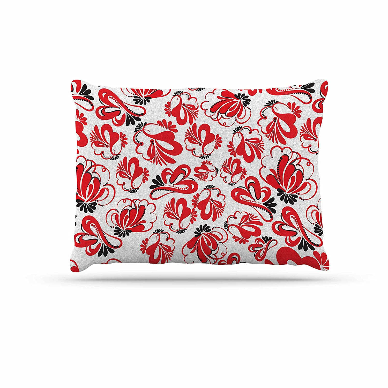KESS InHouse Maria Bazarova Red Flowers Black Floral Dog Bed, 30  x 40