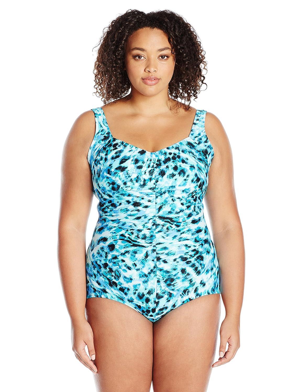 b7144c6861 Maxine Of Hollywood Women s Wild Side Shirred Girl Leg One Piece Swimsuit