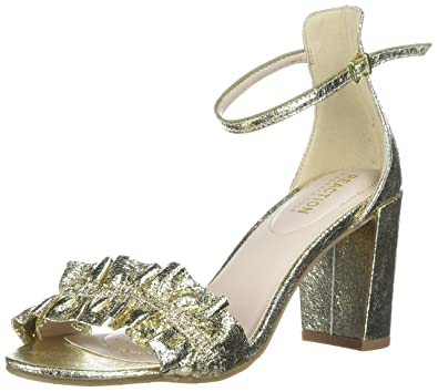 9c154d01170 Kenneth Cole REACTION Women s Rise Ruffle Strap Open Toe Dress Sandal  Heeled