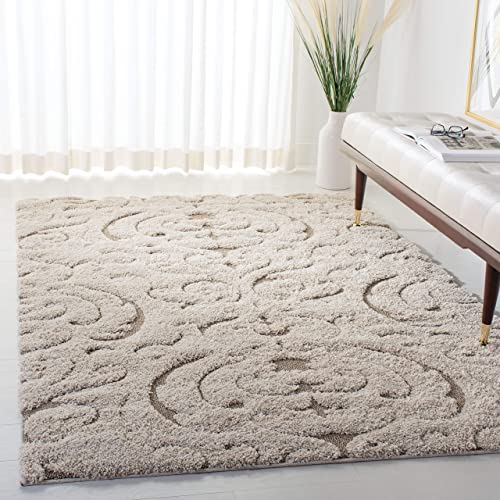Safavieh Florida Shag Collection SG467-1113 Cream and Beige Area Rug 4 x 6