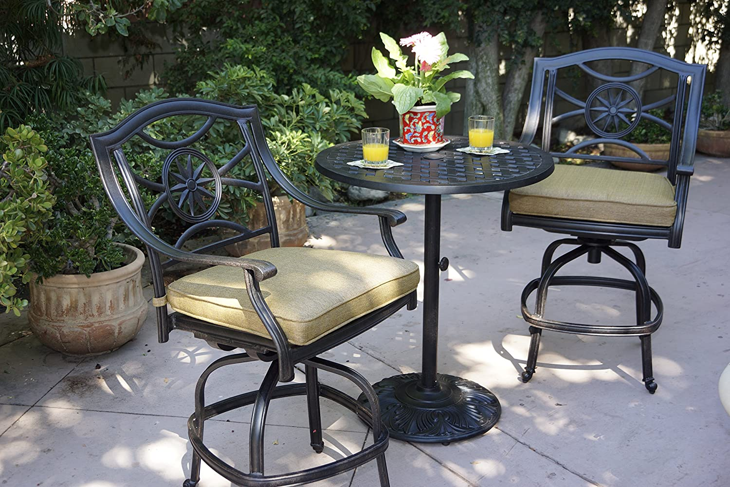Darlee Ten Star Cast Aluminum 3 Piece Series 30 Pedestal Counter Height Bar Table with Seat Cushions, 30 , Antique Bronze Finish