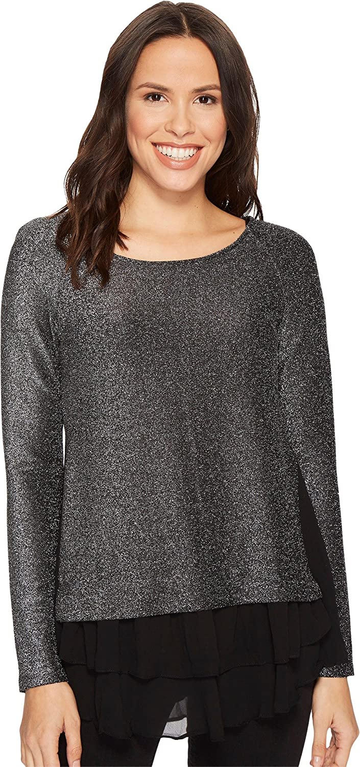5f207563e8f623 Karen Kane Womens Sheer Hem Sparkle Top at Amazon Women's Clothing store: