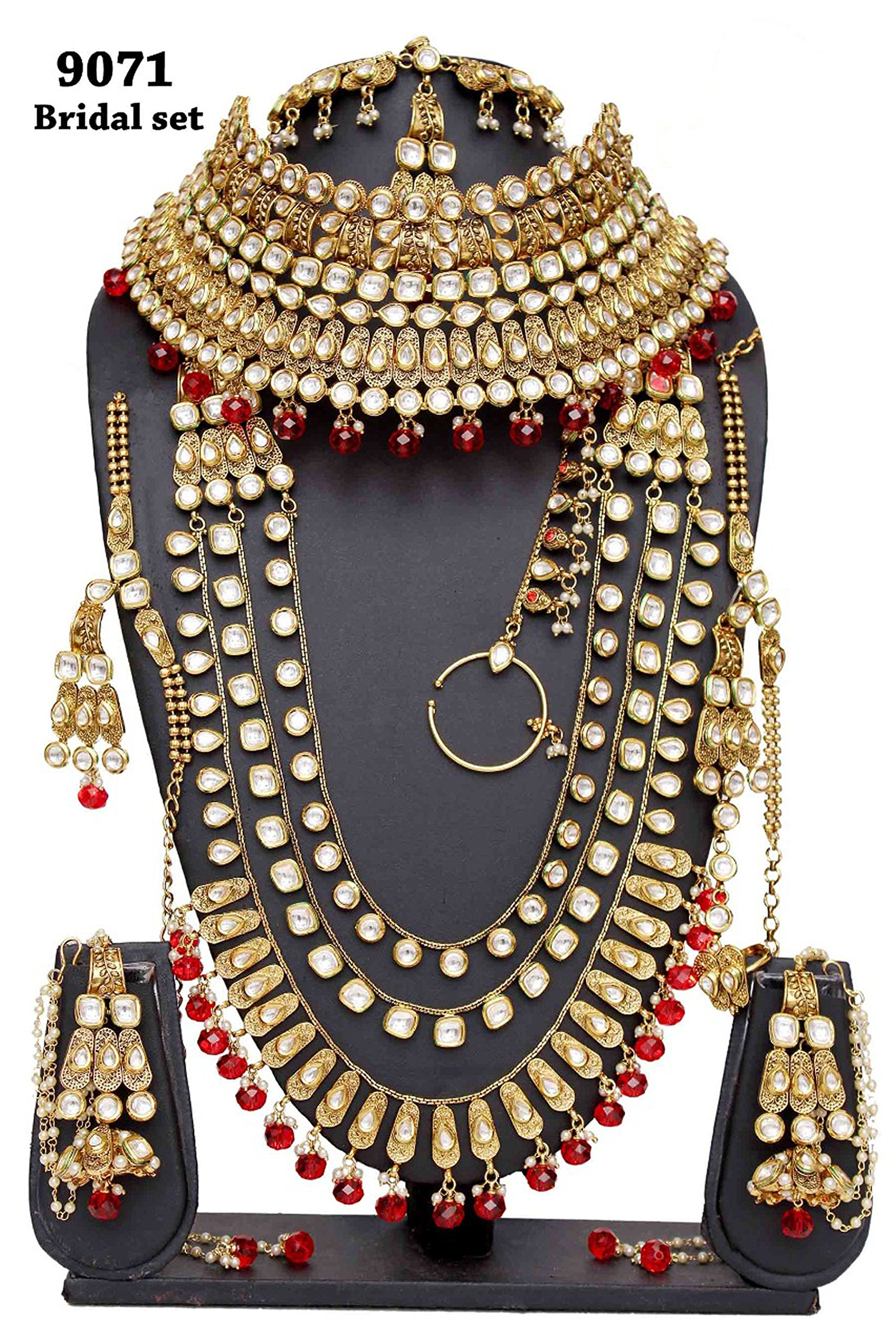 Wedding wear Amazing Style Gold Plated Kundan Stone Indian Necklace Earrings Bridal Set Partywear Jewelry