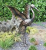 Creekwood 48065Crane Bird Statue Ornament 64cm Height-Wings bis, Bronze, 27x 45x 64cm