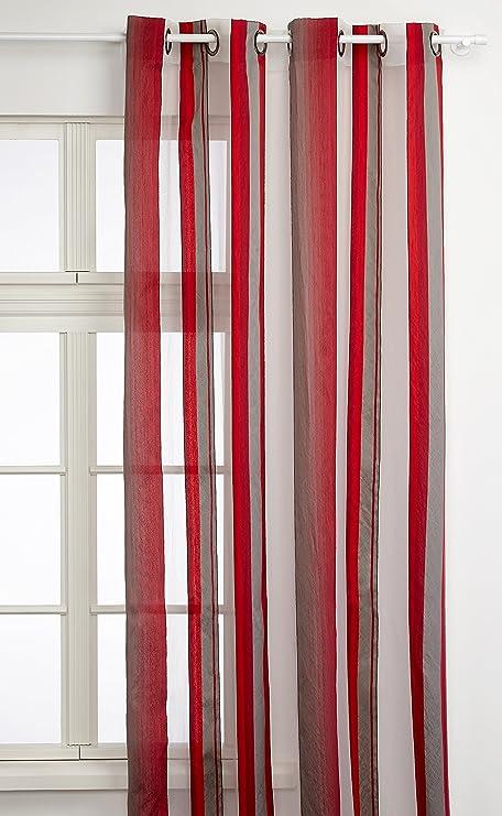 Linder 0651 69 375fr Tenda Beverly Con Occhielli 140 X 280 Cm Colore Rosso Grigio